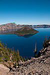 Crater Lake National Park, Oregon.  Showing Wizard Island.  Photo copyright Lee Foster.  Photo # oregon-crater-lake-oregon105748