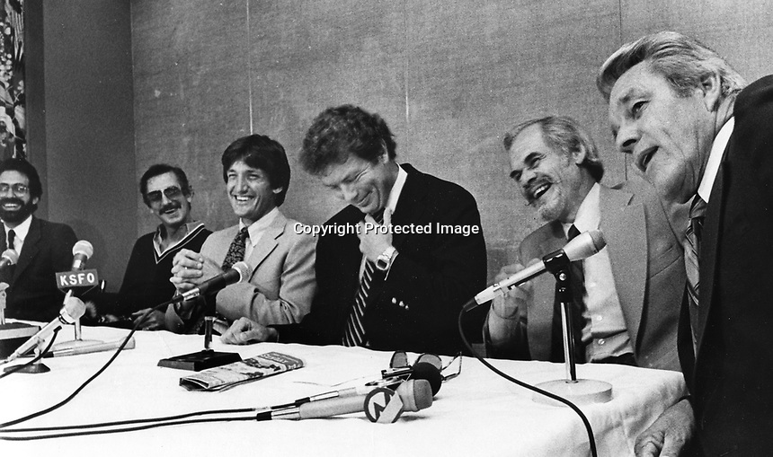 A's broadcasters press conference, Wally Haas, Billy Martin, KSFO, Bill King, and Lon Simmons. (1980 photo by Ron Riesterer)
