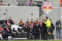 Referee Alex Prus talks with New York Red Bulls head coach Hans Backe (C) and assistant coach Richie Williams (L). The New York Red Bulls defeated FC Dallas 2-1 during a Major League Soccer (MLS) match at Red Bull Arena in Harrison, NJ, on April 17, 2010.