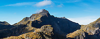 Hermannsdalstinden mountain peak in Autumn, Moskenes&oslash;ya, Lofoten Islands, Norway