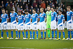 Hearts v St Johnstone&hellip;05.11.16  Tynecastle   SPFL<br />The saints players line-up for Remembrance Day<br />Picture by Graeme Hart.<br />Copyright Perthshire Picture Agency<br />Tel: 01738 623350  Mobile: 07990 594431