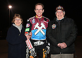 Two Hammers fans have their picture taken with Peter Karlsson - Lakeside Hammers Open Evening at the Arena Essex Raceway, Pufleet - 23/03/12 - MANDATORY CREDIT: Rob Newell/TGSPHOTO - Self billing applies where appropriate - 0845 094 6026 - contact@tgsphoto.co.uk - NO UNPAID USE..