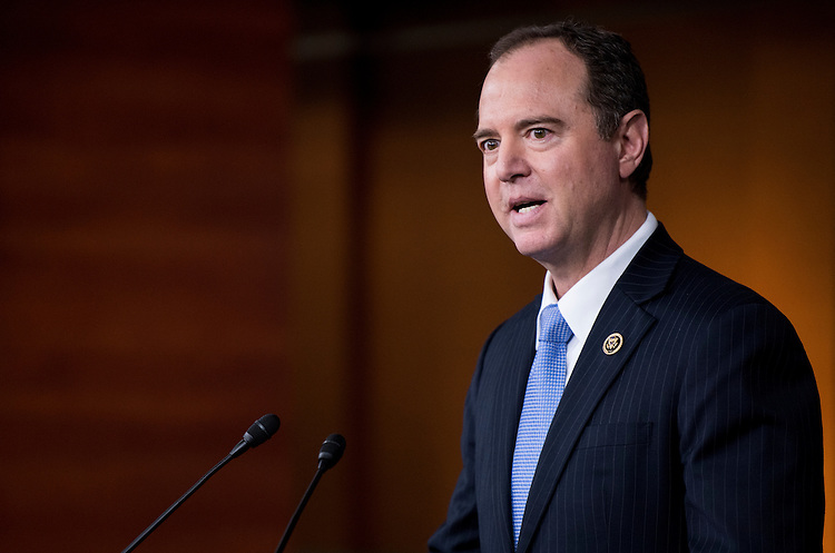 UNITED STATES - FEBRUARY 27: House Intelligence ranking member Rep. Adam Schiff, D-Calif., holds a media availability on the committee's Russia investigation on Monday, Feb. 27, 2017. (Photo By Bill Clark/CQ Roll Call)