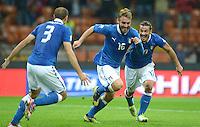 Fussball International  WM Qualifikation 2014   Italien - Daenemark                16.10.2012 Jubel Giorgio Chiellini, Daniele De Rossi  und Pablo Osvaldo (v. li., Italien)