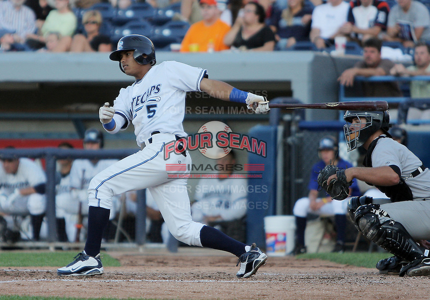 August 5, 2009:  Gustavo Nunez of the West Michigan Whitecaps during a game at Fifth Third Ballpark in Comstock Park, FL.  The White Caps are the Low-A affiliate of the Detroit Tigers.  Photo By Emily Jones/Four Seam Images