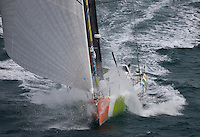 "Transat Jacques Vabre 2011. Le Havre. France.Pictures of Mike golding and his co skipper onbaod ""Gamesa"" during the race start today"
