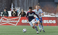 Foxborough, Massachusetts - March 21, 2015: First half action. In a Major League Soccer (MLS) match, the New England Revolution (dark blue/white) vs Montreal Impact (white/light blue), 0-0 (halftime), at Gillette Stadium.