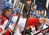 Joseph Pendenza (UML - 14) - The University of Massachusetts Lowell River Hawks defeated the visiting American International College Yellow Jackets 6-1 on Tuesday, December 3, 2013, at Tsongas Arena in Lowell, Massachusetts.
