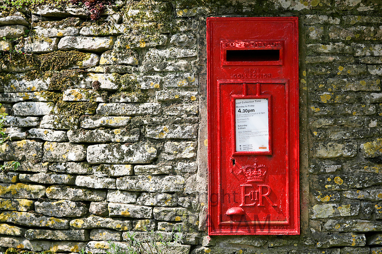 Wall mounted Post-Box with the cypher ER for the reign of Queen Elizabeth II.