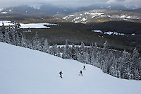 People ski at Showdown Ski Area on King's Hill in the Little Belt Mountains near Neihart, Montana, USA.