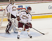 Parker Milner (BC - 35), Pat Mullane (BC - 11) - The Boston College Eagles tied the visiting Yale University Bulldogs 3-3 on Friday, January 4, 2013, at Kelley Rink in Conte Forum in Chestnut Hill, Massachusetts.