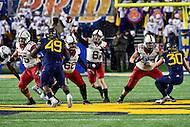 Morgantown, WV - NOV 19, 2016: Oklahoma Sooners quarterback Baker Mayfield (6) throws a pass from the pocket during game between West Virginia and Oklahoma at Mountaineer Field at Milan Puskar Stadium Morgantown, West Virginia. (Photo by Phil Peters/Media Images International)