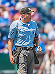 25 August 2013: MLB Umpire Mike Everitt stands at home plate between innings of a game between the Kansas City Royals and the Washington Nationals at Kauffman Stadium in Kansas City, MO. The Royals defeated the Nationals 6-4, to take the final game of their 3-game inter-league series. Mandatory Credit: Ed Wolfstein Photo *** RAW (NEF) Image File Available ***