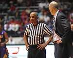 Referee Tony Greene talks with Ole Miss head basketball coach Andy Kennedy vs. LSU in Oxford, Miss. on Saturday, February 25, 2012.
