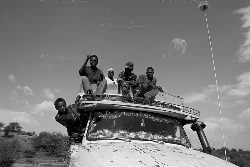 North Darfur, August 13, 2004.Janjaweed on the road.