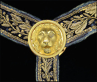 BNPS.co.uk (01202 558833)<br /> Pic: JamesD.Julia/BNPS<br /> <br /> Elaborate hanger.<br /> <br /> Special relationship - Only American born Captain at Trafalgar's ceremonial sword for sale.<br /> <br /> A rare 212-year-old sword presented to a captain for his bravery at the Battle of Trafalgar has emerged for sale.<br /> <br /> The pristine bronze gilted weapon was awarded to Captain William Rutherford of the 74-gun HMS Swiftsure for his role in helping the British to victory in 1805.<br /> <br /> Only 23 of the 100 Guinea Sword were awarded to captains from the world's most famous naval battle.<br /> <br /> This one is being sold by James D Julia Auctions and has an estimate of &pound;200,000 ($250,000), but could fetch a lot more.