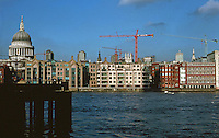 London:  Thameside Walk #16. St. Paul's, left: (#13  Bankside--Tate Modern. Black steeple of St. Nicholas Cole Abbey; Tower of St. Mary Somerset; White steeple of St. Mary Le Bow.)   Photo '90.