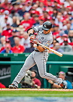 3 April 2017: Miami Marlins third baseman Derek Dietrich in action against the Washington Nationals on Opening Day at Nationals Park in Washington, DC. The Nationals defeated the Marlins 4-2 to open the 2017 MLB Season. Mandatory Credit: Ed Wolfstein Photo *** RAW (NEF) Image File Available ***