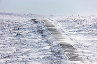"""Blowing snow across the James Dalton Highway near Finger Mountain, a notoriously winder area along the """"Haul Road"""" that leads from Fairbanks to Prudhoe Bay, Alaska."""