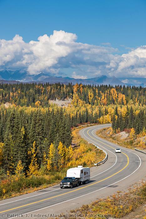 Autumn foliage along the George Parks highway, Alaska range mountains, interior, Alaska.