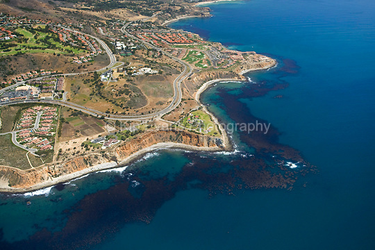 Aerial view looking down on Palos Verdes toward the northeast. A productive kelp forest can be seen along the coastline.