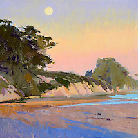 "Rolled Canvas Print: 1110101 - Winter Sun, Full Moon --  Image Size 30 1/8 x 30""  on a 36 x 36  Canvas. 2""  Grey Border on sides for stretching Acrylic Painting by Marcia Burtt"