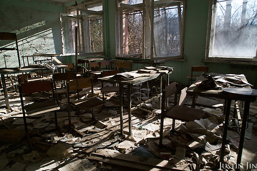 A school in Pripyat, a ghost town left deserted by the nuclear disaster in the Chernobyl power station nearby. 30 years on, the city is still heavily contaminated, unfit for human life. <br /> <br /> The Chernobyl nuclear disaster happened on 26 April 1986.