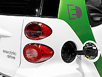 2012 Smart ForTwo electric drive. Electric car power socket open lid closeup