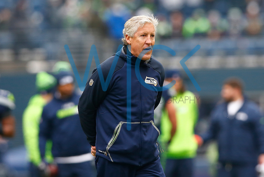 Head coach Pete Carrol of the Seattle Seahawks looks on during warm ups prior to the game against the Pittsburgh Steelers at CenturyLink Field on November 29, 2015 in Seattle, Washington. (Photo by Jared Wickerham/DKPittsburghSports)