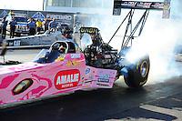 Oct. 14, 2011; Chandler, AZ, USA; NHRA top fuel dragster driver Terry McMillen during qualifying at the Arizona Nationals at Firebird International Raceway. Mandatory Credit: Mark J. Rebilas-