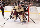 Johnny Gaudreau (BC - 13), Josh Manson (NU - 3) - The Boston College Eagles defeated the Northeastern University Huskies 6-3 on Monday, February 11, 2013, at TD Garden in Boston, Massachusetts.