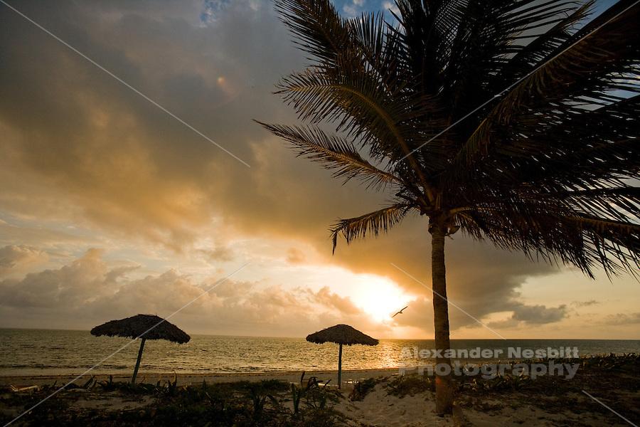 Cuba 2009- Kiteboarding adventure - sunset at beach resort.