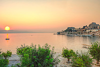 Sunrise at the sailing club in old fortress of Corfu, Greece