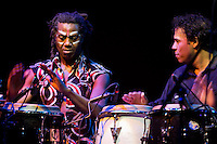 Amayo (left) and Rey de Jesus (right) play congas during the Antibalas performance at Union Transfer in Philadelphia on December 13, 2012.