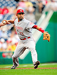 6 June 2010: Cincinnati Reds' infielder Miguel Cairo in action against the Washington Nationals at Nationals Park in Washington, DC. The Reds edged out the Nationals 5-4 in a ten inning game. Mandatory Credit: Ed Wolfstein Photo