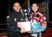 Neil Vatcher presents Davey Watt with the Silver Hammer winners trophy - Lakeside Hammers Open Evening at the Arena Essex Raceway, Pufleet - 23/03/12 - MANDATORY CREDIT: Rob Newell/TGSPHOTO - Self billing applies where appropriate - 0845 094 6026 - contact@tgsphoto.co.uk - NO UNPAID USE..