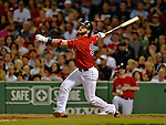 8 June 2012: Boston Red Sox catcher Jarrod Saltalamacchia in action against the Washington Nationals at Fenway Park in Boston, MA. The Nationals defeated the Red Sox 7-4 in the opening game of their 3-game series. Mandatory Credit: Ed Wolfstein Photo