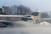 Norwegian Home Guard vessel Olav Tryggvason docked by Akershus castle, Oslo. It is one of two new vessles put into service at the beginning of 2011...Photo: Fredrik Naumann/Felix Features