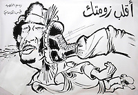 A cartoon drawing of Gaddifi by artist Kiasi Al-Hali, who was killed of 20th February, showing him being kicked in the head. On 17 February 2011 Libya saw the beginnings of a revolution against the 41 year regime of Col Muammar Gaddafi.