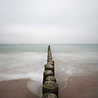 Baltic sea with overcast sky, Warnemünde, Mecklenburg-Vorpommern, Germany