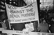 """09 Dec 1969, Manhattan, New York City, New York State, USA --- American protesters of Youth Against War and Fascism holding a banner with stating """"Stop the War Against the Black Panthers!"""" in front of the Waldorf Astoria Hotel where President Richard Nixon is attending a National Football Foundation Dinner. --- Image by © JP Laffont/Sygma/CORBIS"""