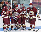 Brian Dumoulin (BC - 2), Paul Carey (BC - 22), Cam Atkinson (BC - 13), Brian Gibbons (BC - 17), Patrick Wey (BC - 6) - The Northeastern University Huskies defeated the visiting Boston College Eagles 2-1 on Saturday, February 19, 2011, at Matthews Arena in Boston, Massachusetts.