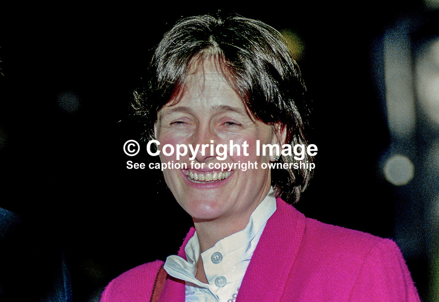 Susana Lyell, wife, of Sir Nicholas Lyell, MP, politician, Conservative Party, UK, 19901057SL.<br /> <br /> Copyright Image from Victor Patterson, 54 Dorchester Park, Belfast, UK, BT9 6RJ<br /> <br /> t1: +44 28 9066 1296 (from Rep of Ireland 048 9066 1296)<br /> t2: +44 28 9002 2446 (from Rep of Ireland 048 9002 2446)<br /> m: +44 7802 353836<br /> <br /> e1: victorpatterson@me.com<br /> e2: victorpatterson@gmail.com<br /> <br /> The use of my copyright images is subject to my Terms &amp; Conditions.<br /> <br /> It is IMPORTANT that you familiarise yourself with them. They are available on my website at www.victorpatterson.com.<br /> <br /> None of my copyright images may be used on a website unless they are visibly watermarked, i.e. &copy; Victor Patterson within the body of the visible image. Metadata denoting my copyright must NOT be deleted. <br /> <br /> Web use is extra at currently recommended NUJ rates.