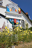 Happisburgh town sign, Norfolk, United Kingdom