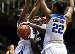 21 February 2016: Georgia Tech's Zaire O'Neil (21) gets trapped between Duke's Oderah Chidom (22) and Amber Henson (behind). The Duke University Blue Devils hosted the Georgia Tech Yellow Jackets at Cameron Indoor Stadium in Durham, North Carolina in a 2015-16 NCAA Division I Women's Basketball game. Georgia Tech won the game 64-59.