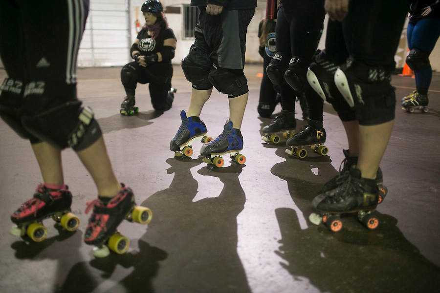 Storm City Roller Girls practice in Vancouver Thursday February 9, 2017. (Photo by Natalie Behring for the Columbian)