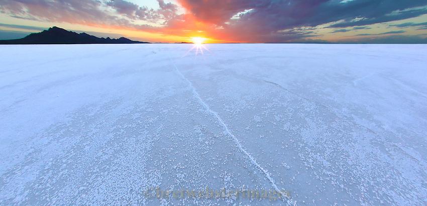 Sunrise on the Bonneville Salt Flats.
