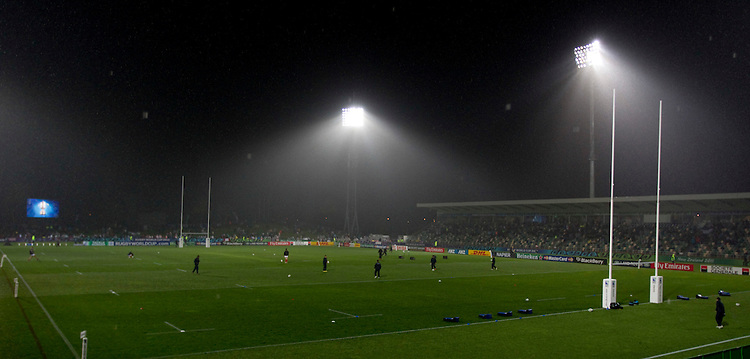 A wet McLean Park before the Rugby World Cup pool match between france and Canada at McLean Park, Napier, New Zealand, Sunday, September 18, 2011. Credit:SNPA / John Cowpland