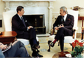 United States President Ronald Reagan meets President-elect Leon Febres Cordero of Equador in the Oval Office of the White House in Washington, D.C. on Tuesday, June 26, 1984..Mandatory Credit: Mary Anne Fackelman - White House via CNP