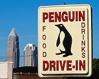 Exterior signage of the Penguin restaurant in uptown Charlotte, NC.